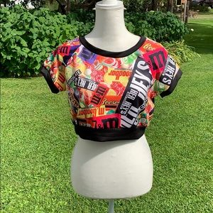 NWOT Love J candy-themed crop top midi shirt